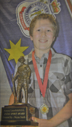 Matthew Doherty 'Spirit of Anzac Award' winner 2011