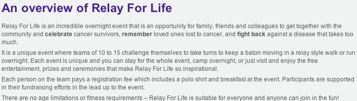 Overview of Relay for Life pict