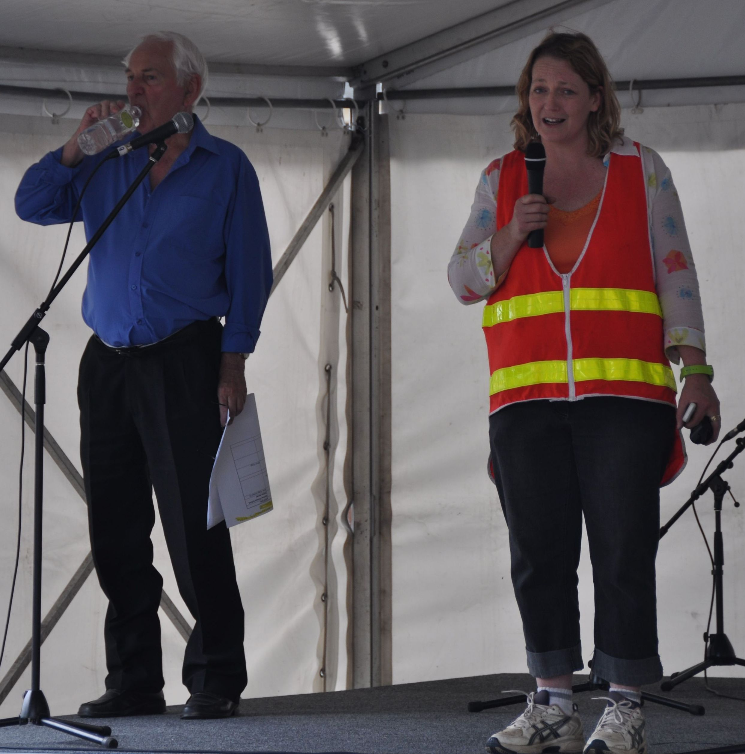 Don as MC and Festival Organiser Vanessa Meredith on Stage